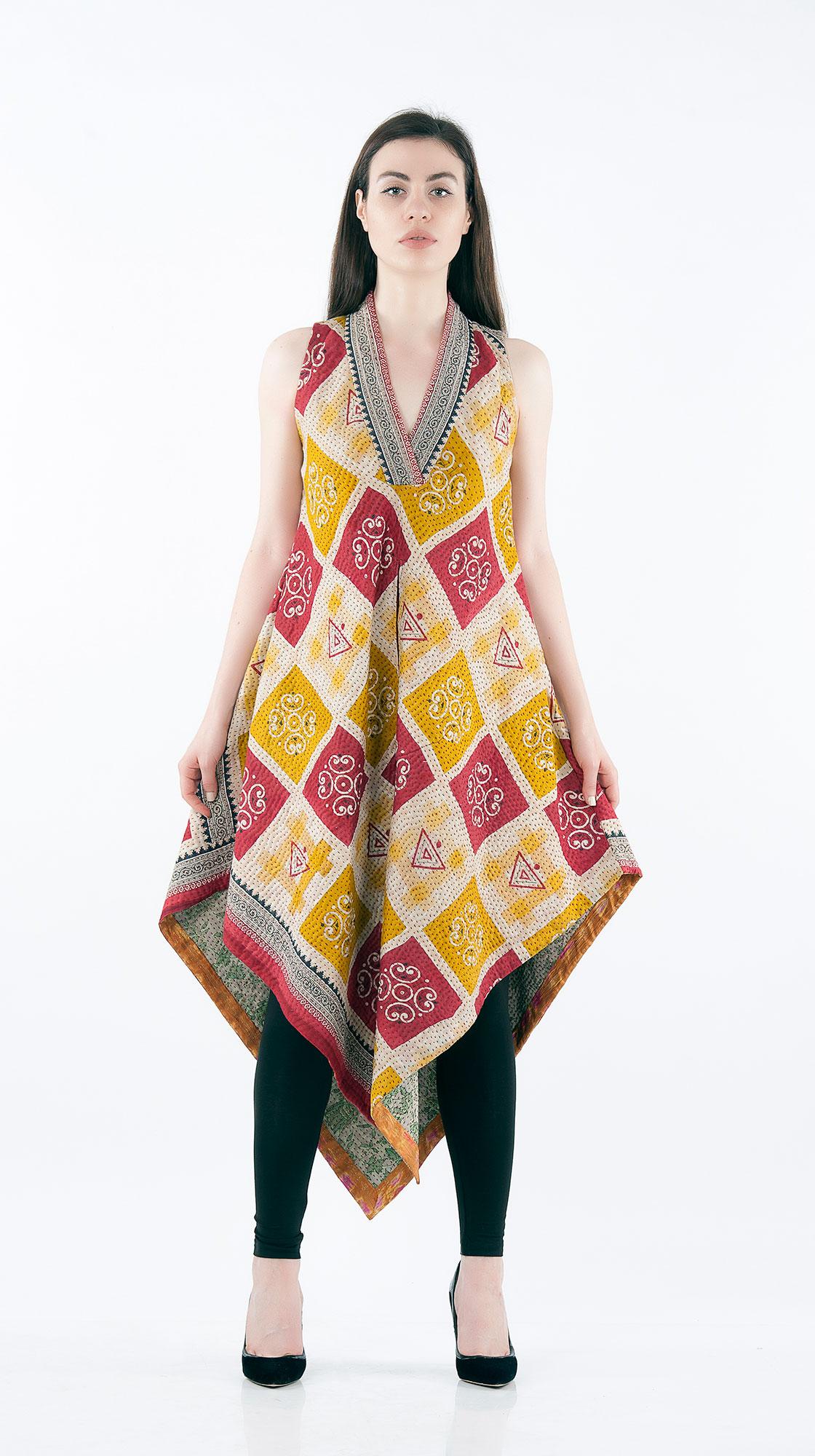 Sonam Dubal Bias Pointed Dress with Center Pocket