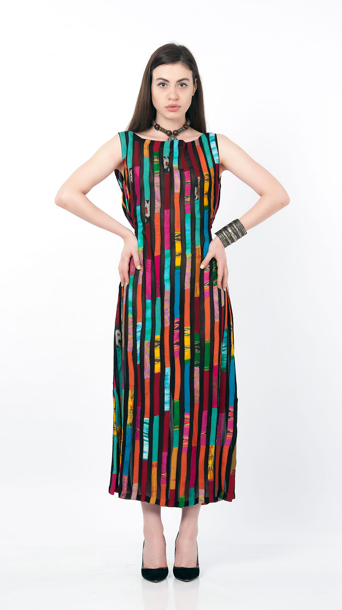 Sonam Dubal Striped Sleeveless Dress