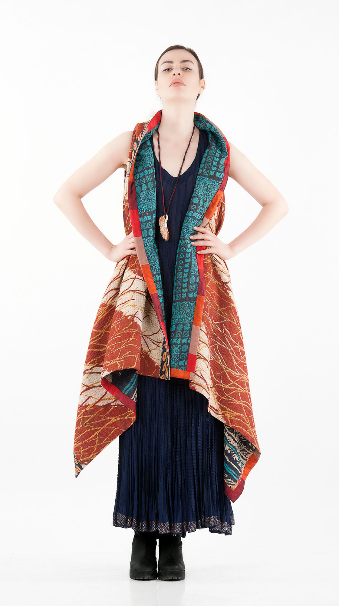 Sonam Dubal Sleeveless Cape and Crinkle Dress