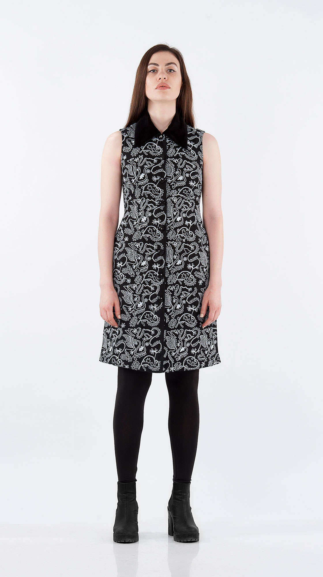 Sonam Dubal Collared Embroidered Dress