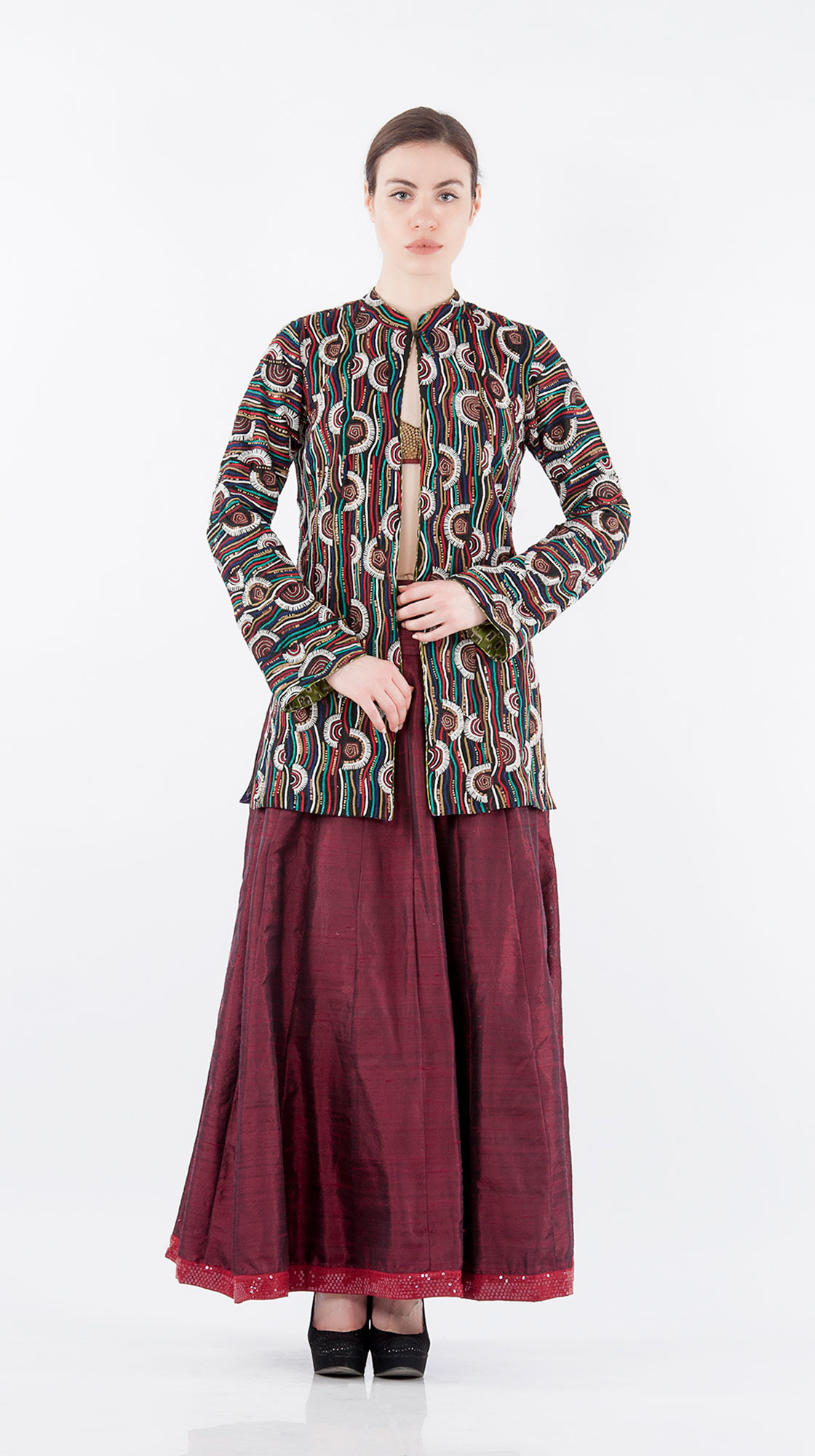 Sonam Dubal Dori Embroidered Jacket and Raw Silk Skirt