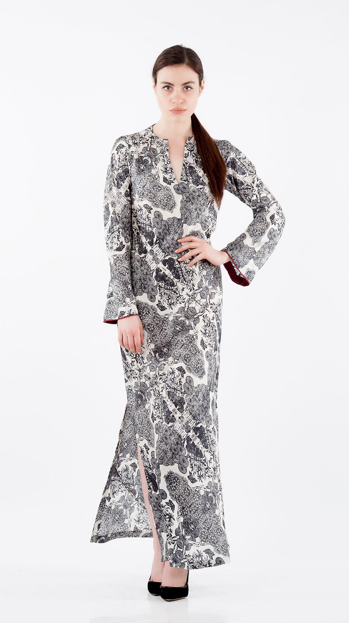Sonam Dubal Forest Printed Long Silk Dress