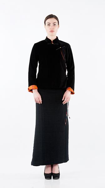 Textured Velvet Tibetan Jacket