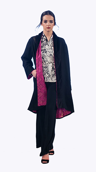 Black Wool Pink ikat Lined Coat
