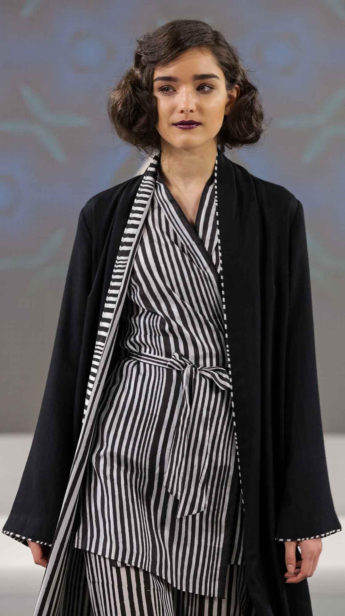Long Wool Cape, Wrap Blouse and Crepe de Chine Pants