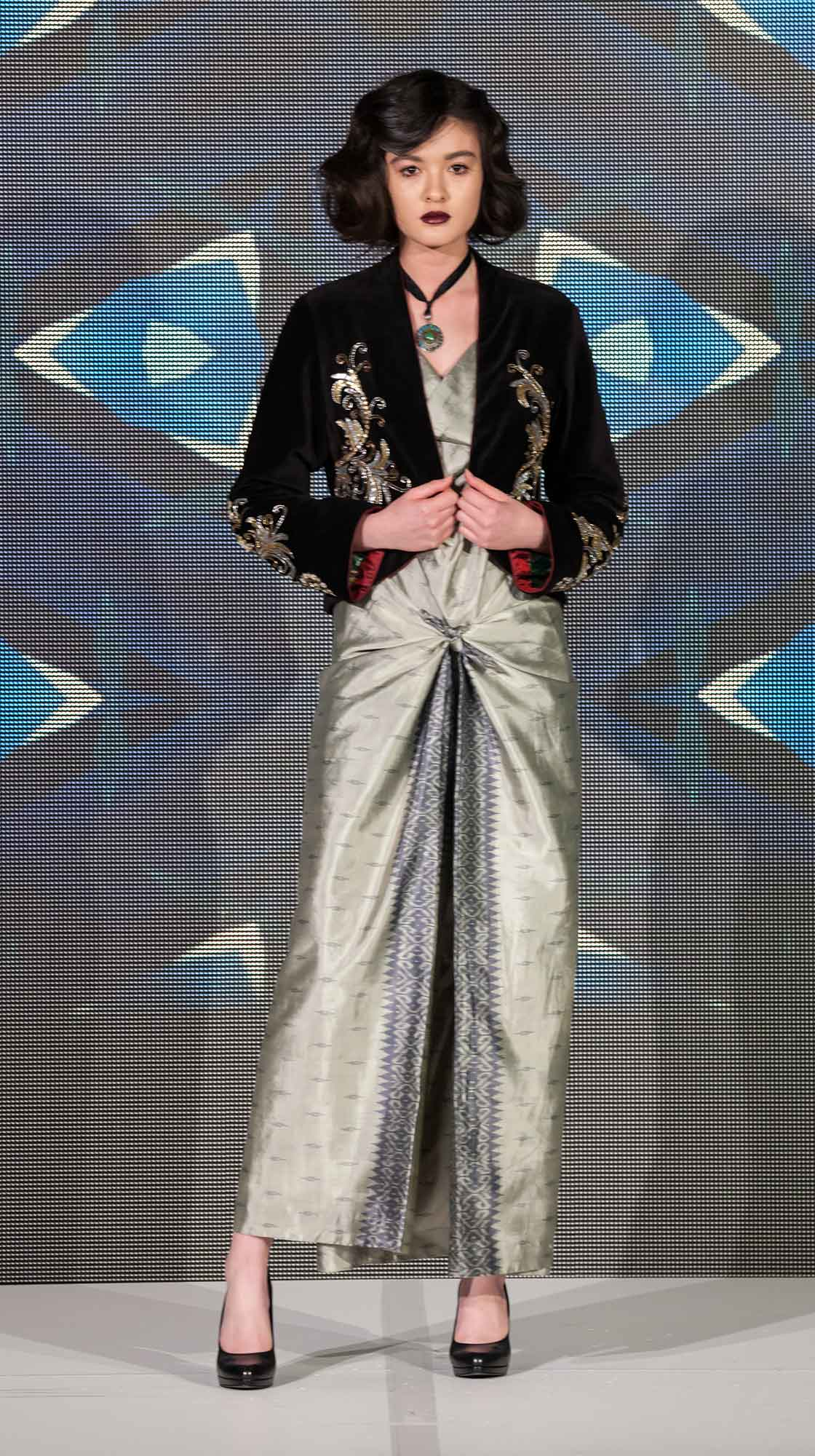 Embroidered Bolero and Cowl Neck Long Dress