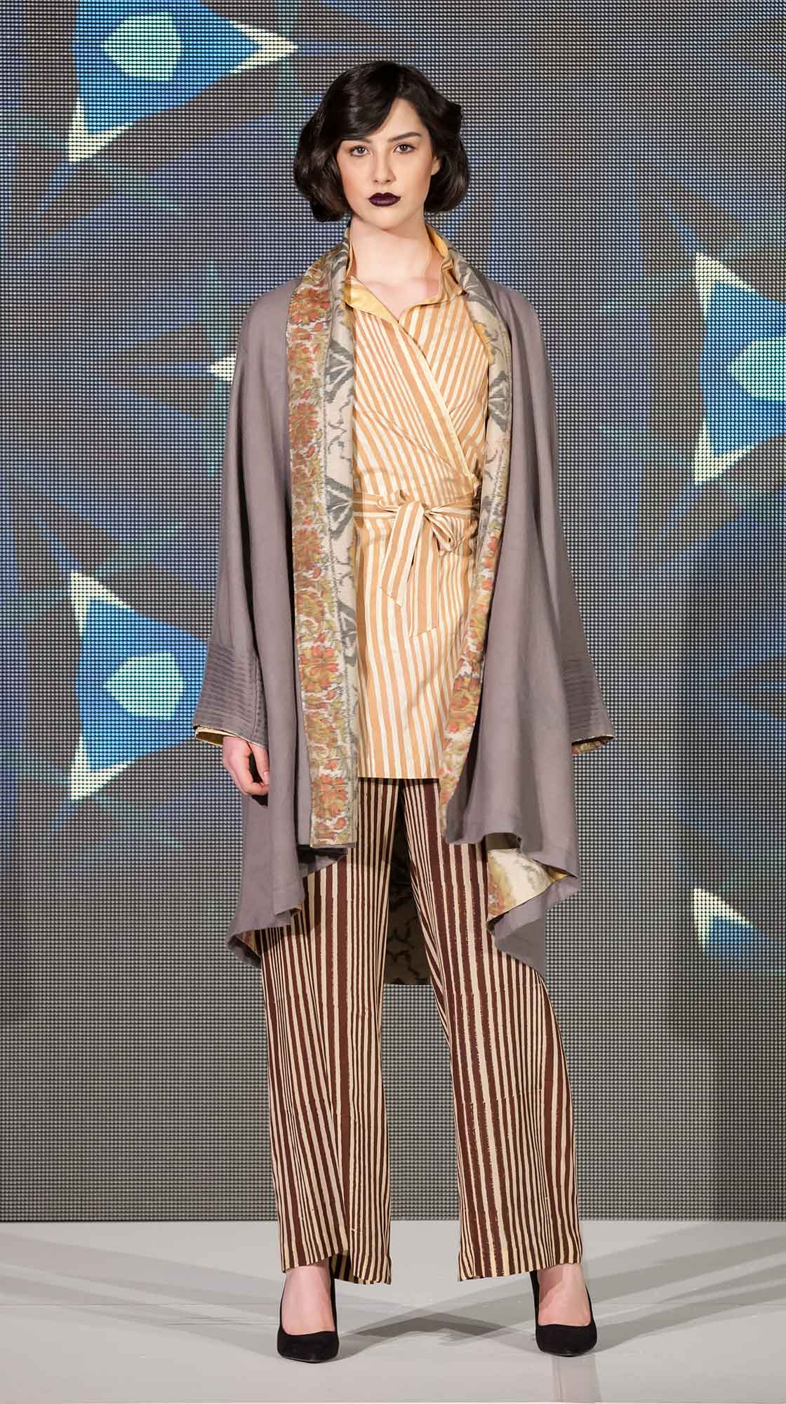Wool Cape, Wrap Blouse and Silk Pants