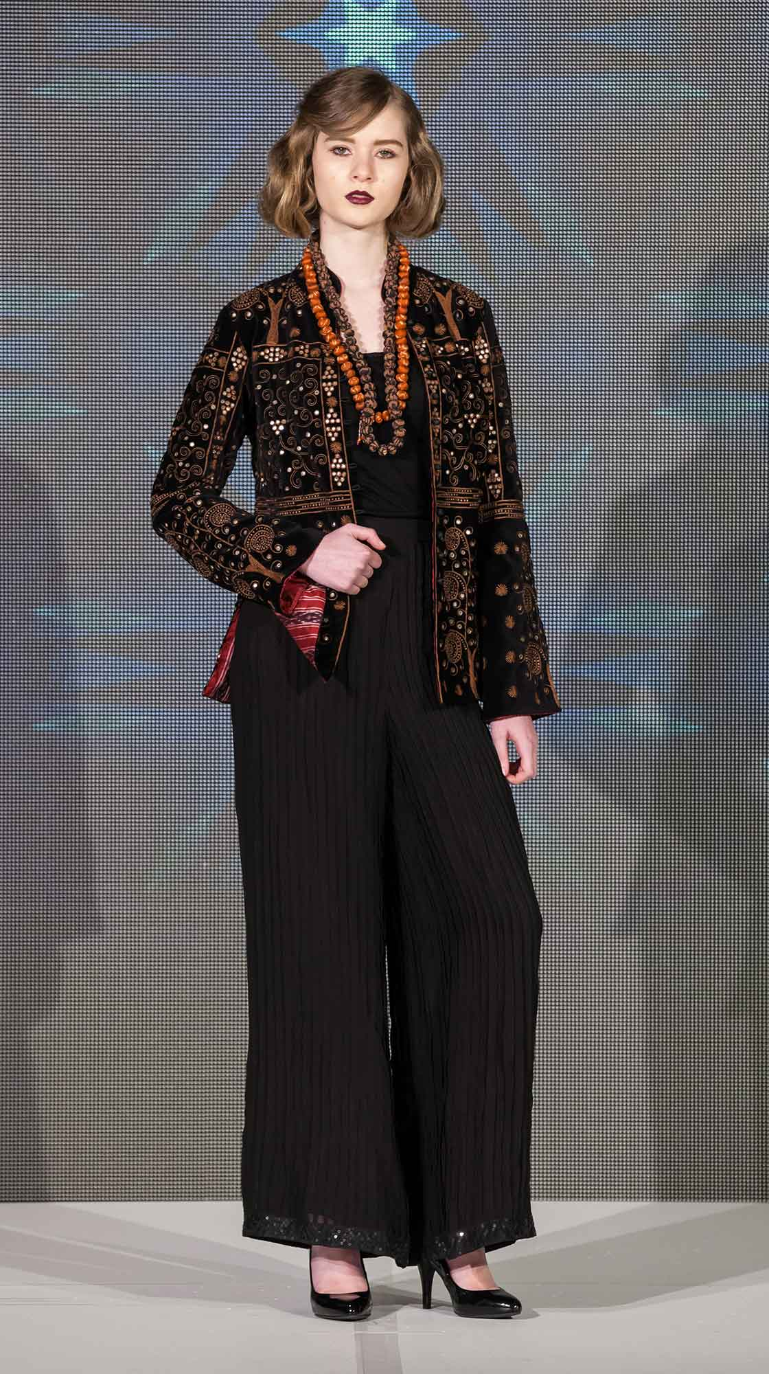 Embroidered Jacket and Pleated Pants