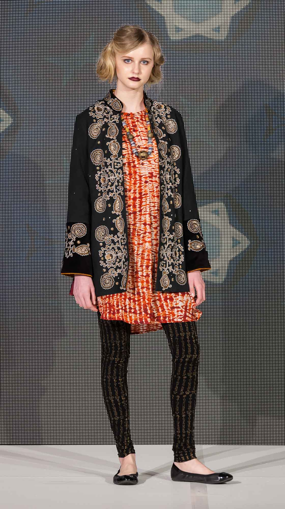 Silk Jacket, Long Sleeved Dress and Printed Leggings