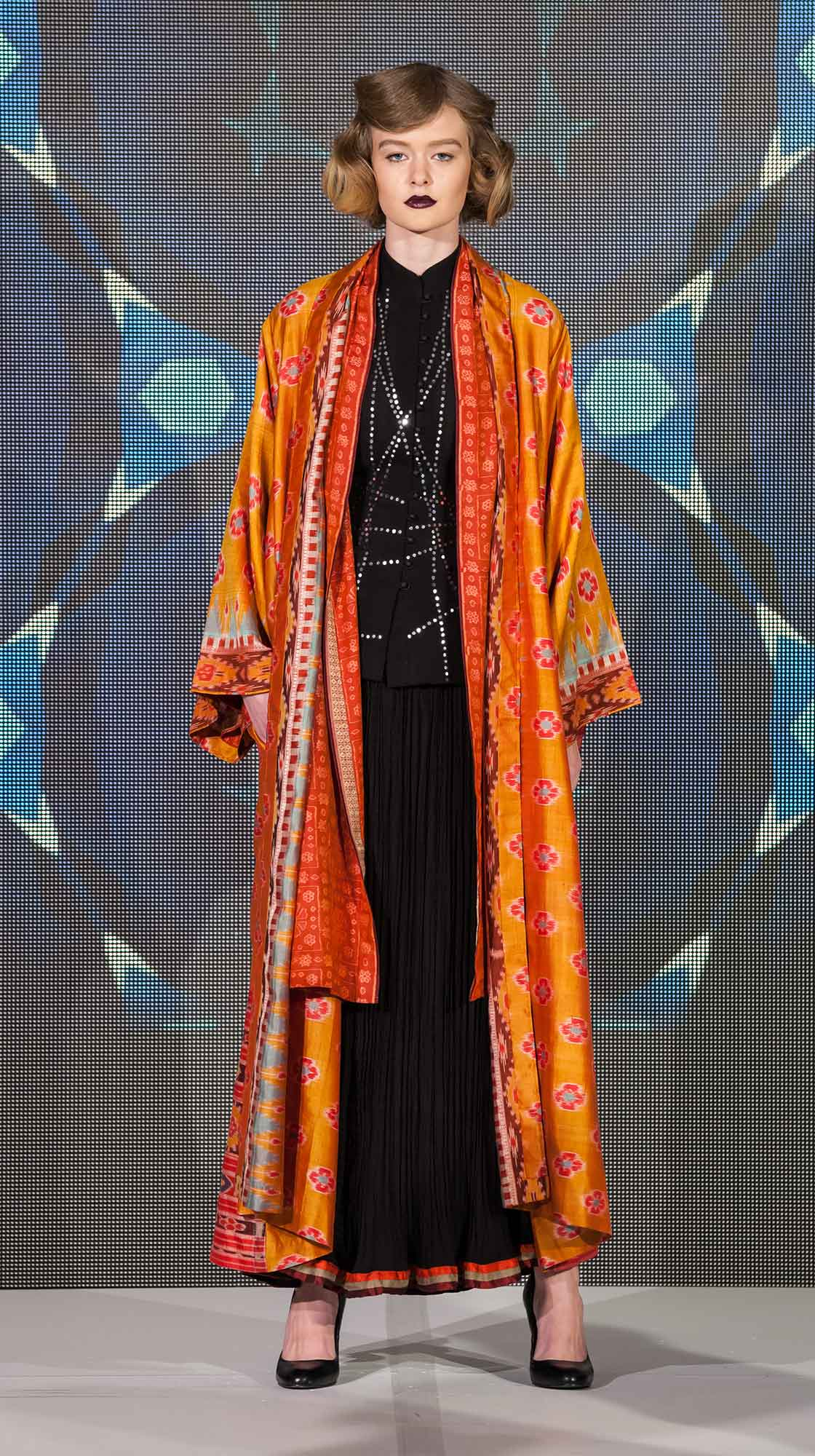 Silk Kimono, Mirror Jacket and Crush Skirt