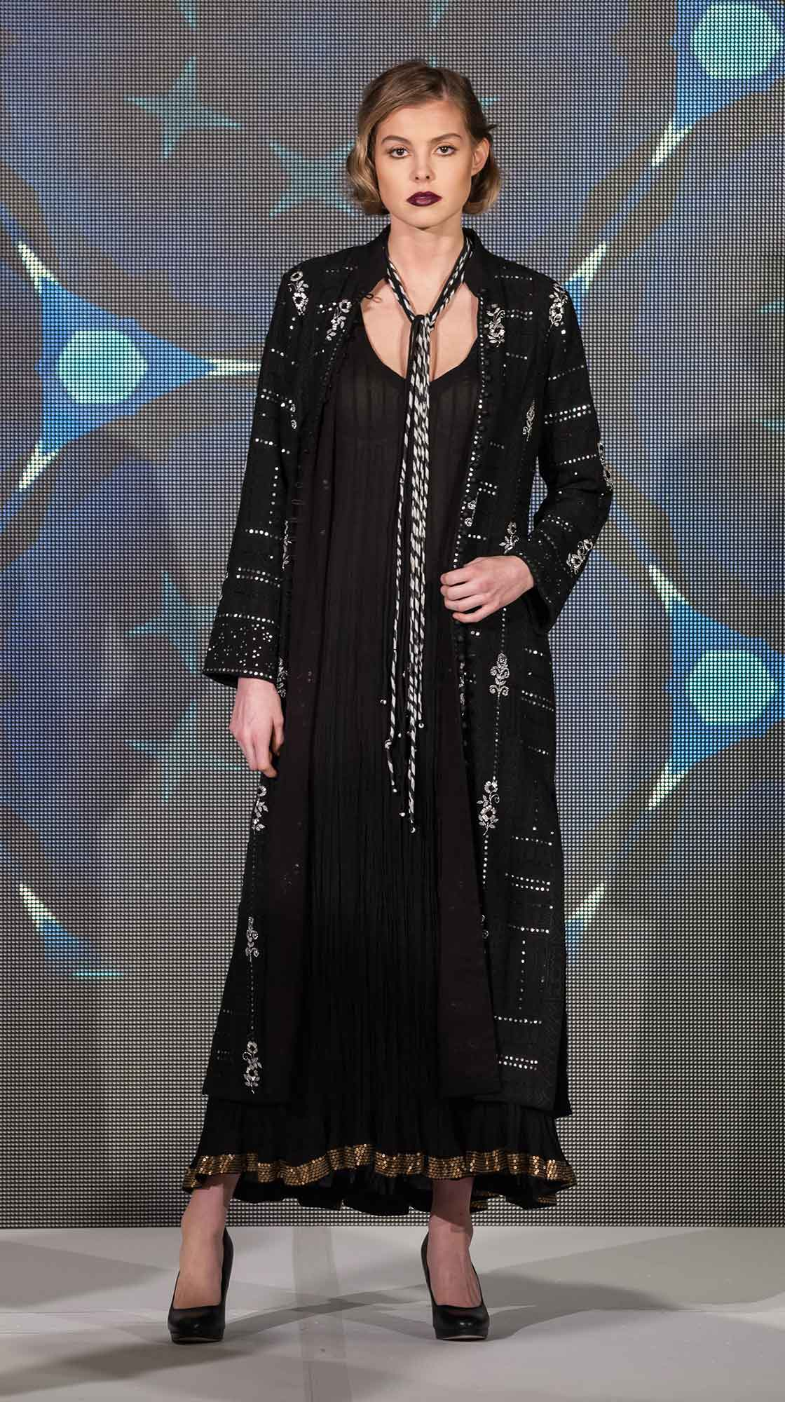 Embroidered Long Coat and Crush Long Dress