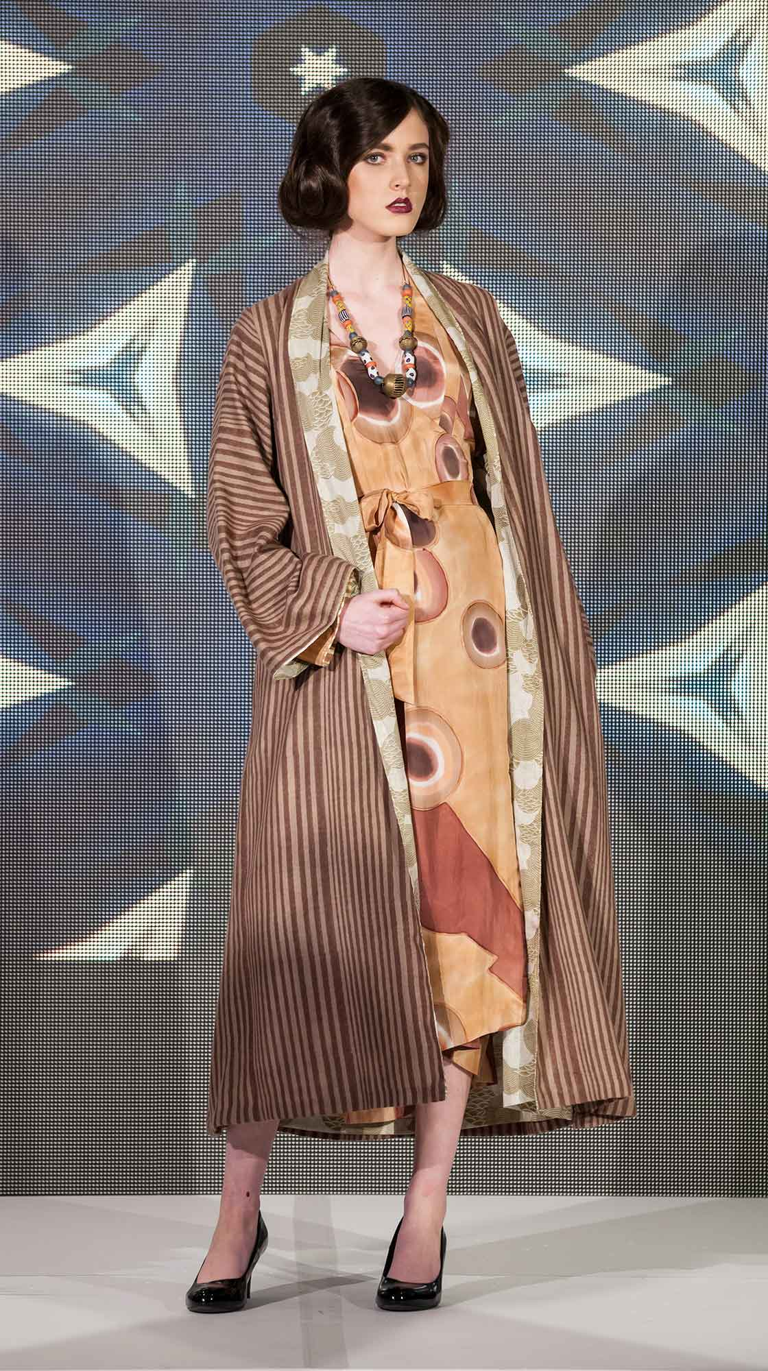 Long Wool Cape and Hand-painted Wrap Dress