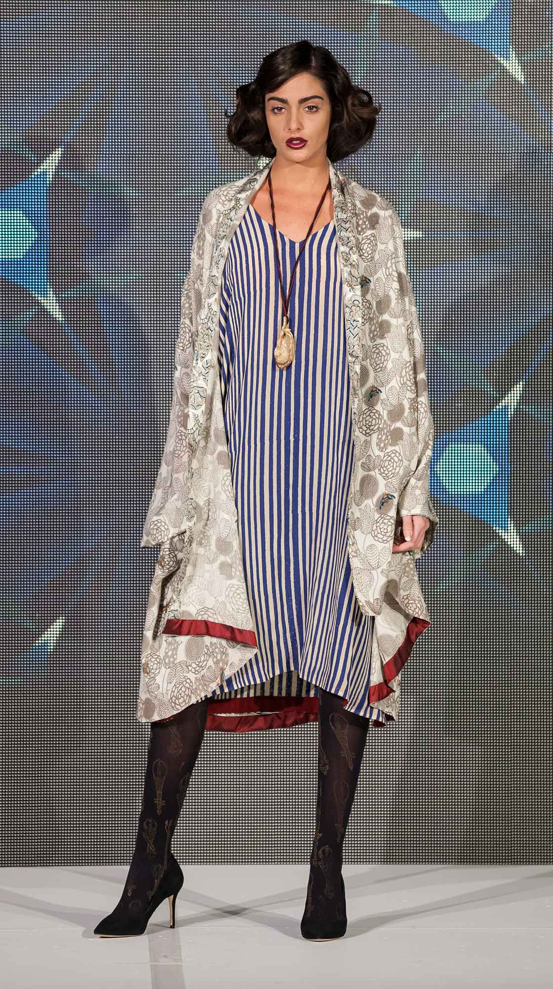 Printed Wool Cape and Striped Kaftan Dress