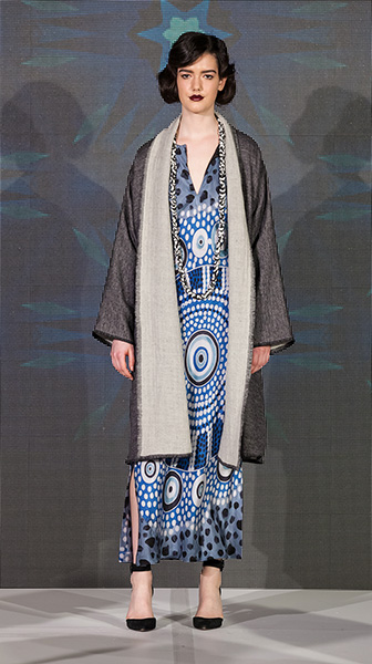 Long Wool Cape and Hand-painted Kaftan