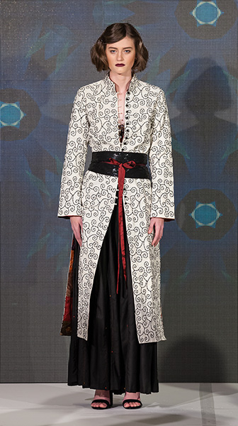 Long Embroidered Coat and Silk Paneled Skirt