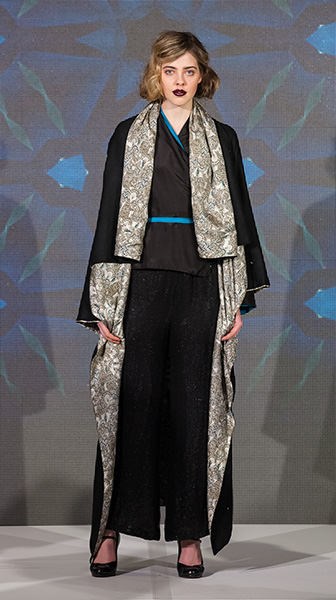 Wool Travel Cape, Silk Wrap and Embroidered Pants
