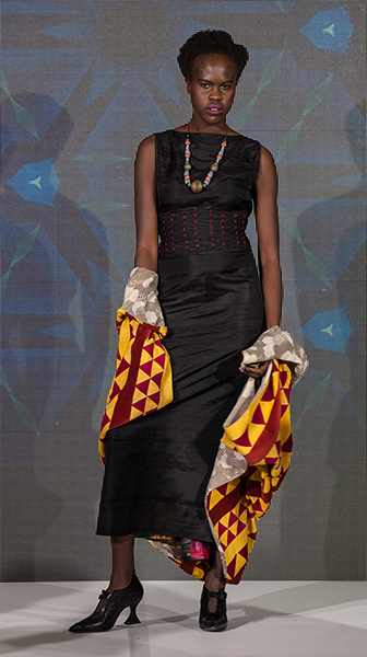 Patchwork Cape, Silk Dress and Obi Belt